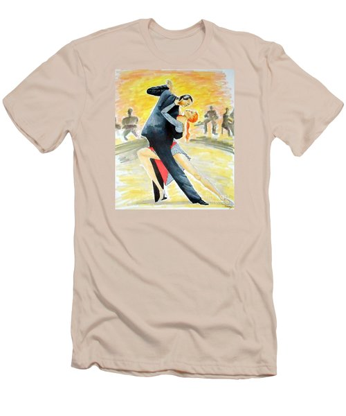 Tango Tangle -- Portrait Of 2 Tango Dancers Men's T-Shirt (Athletic Fit)
