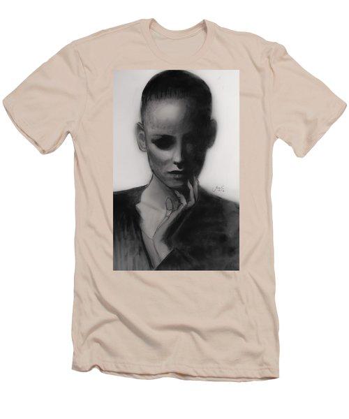 Men's T-Shirt (Slim Fit) featuring the painting Temporary Secretary by Jarko Aka Lui Grande
