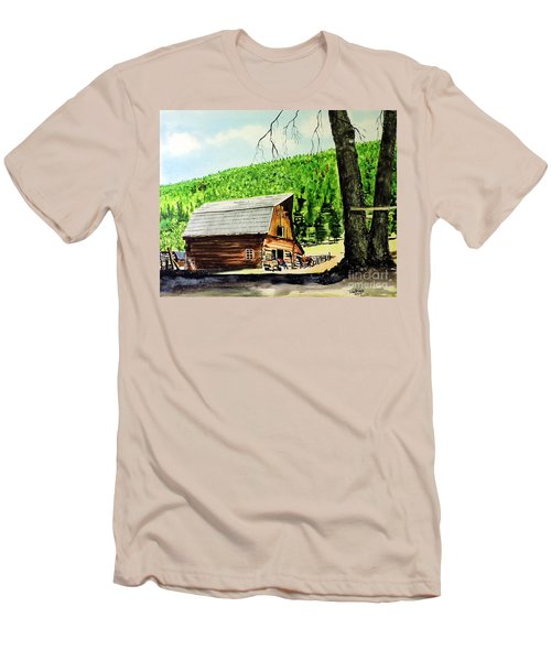 Men's T-Shirt (Slim Fit) featuring the painting That Barn From That Movie by Tom Riggs