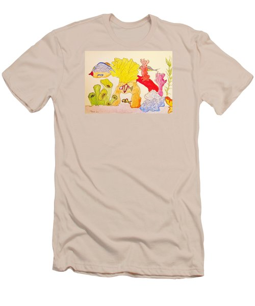 Men's T-Shirt (Slim Fit) featuring the painting The Age Of Aquarium by Rand Swift