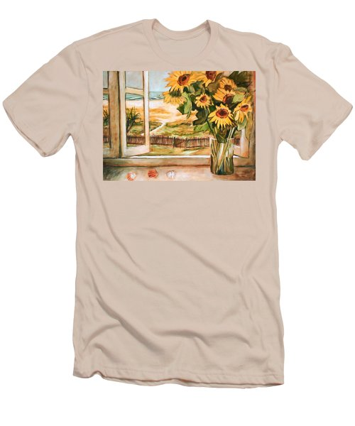 The Beach Sunflowers Men's T-Shirt (Slim Fit) by Winsome Gunning