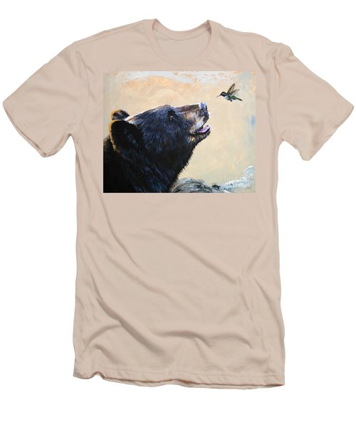 The Bear And The Hummingbird Men's T-Shirt (Slim Fit) by J W Baker