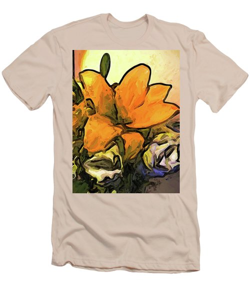 The Big Gold Flower And The White Roses Men's T-Shirt (Athletic Fit)
