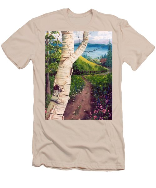 Men's T-Shirt (Slim Fit) featuring the painting The Birch by Renate Nadi Wesley