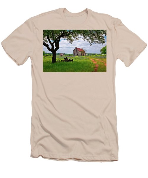 Men's T-Shirt (Slim Fit) featuring the photograph The Bluebonnet House by Linda Unger