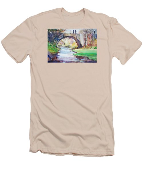 The Bridge Over Brewster Garden Men's T-Shirt (Slim Fit) by P Anthony Visco