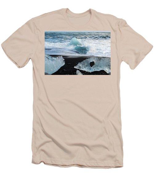 Men's T-Shirt (Athletic Fit) featuring the photograph The Diamond Beach, Jokulsarlon, Iceland by Dubi Roman