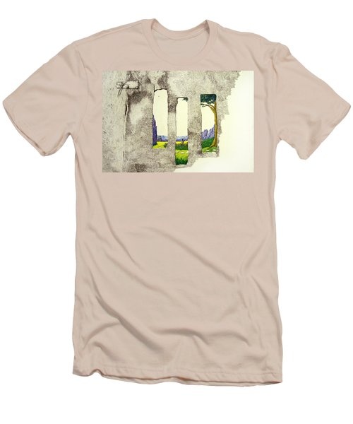 Men's T-Shirt (Slim Fit) featuring the painting The Garden by A  Robert Malcom