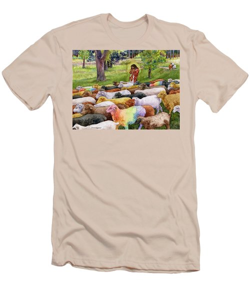 Men's T-Shirt (Slim Fit) featuring the painting The Good Shepherd by Anne Gifford
