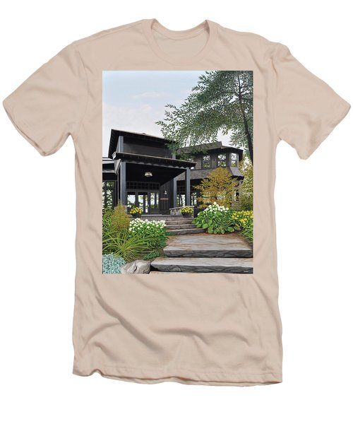 Men's T-Shirt (Slim Fit) featuring the painting The Lodge At Fawn Island by Kenneth M Kirsch