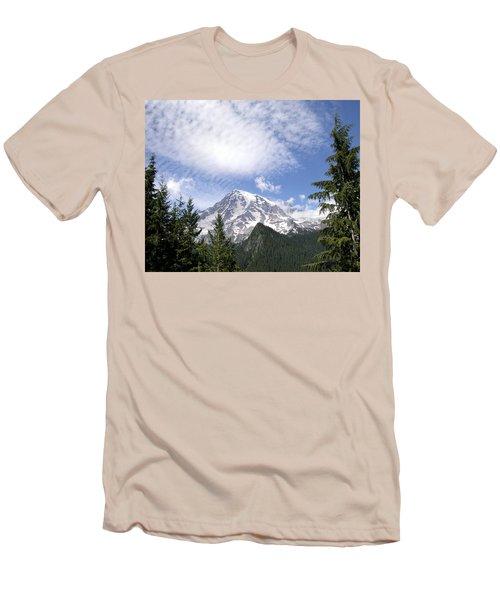 The Mountain  Mt Rainier  Washington Men's T-Shirt (Slim Fit) by Michael Bessler