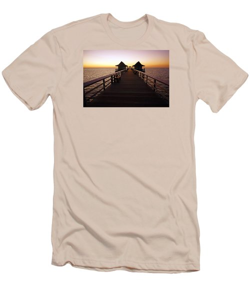 The Naples Pier At Twilight - 01 Men's T-Shirt (Slim Fit) by Robb Stan
