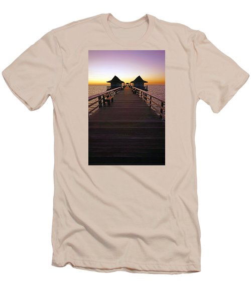 The Naples Pier At Twilight Men's T-Shirt (Slim Fit) by Robb Stan