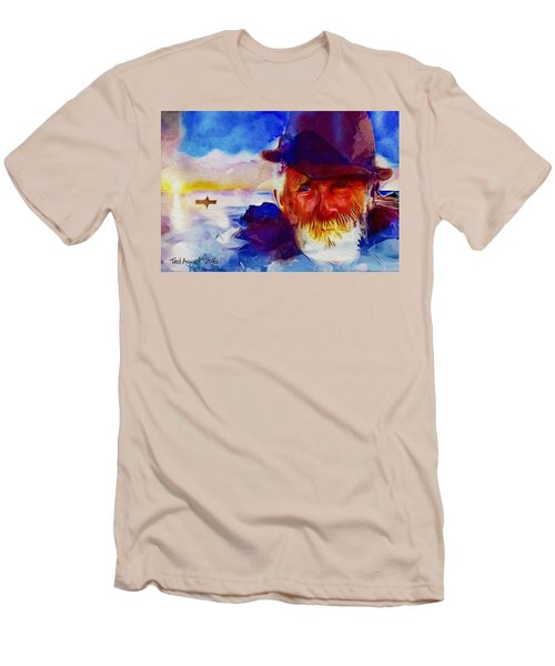 Men's T-Shirt (Slim Fit) featuring the painting The Old Man And The Sea by Ted Azriel