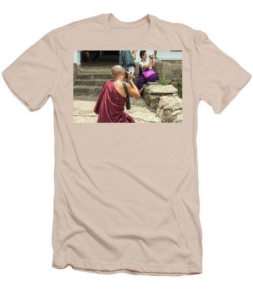 The Other Way Around Men's T-Shirt (Slim Fit) by Patricia Hofmeester