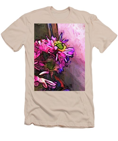 The Pink And Purple Flower By The Pale Pink Wall Men's T-Shirt (Athletic Fit)