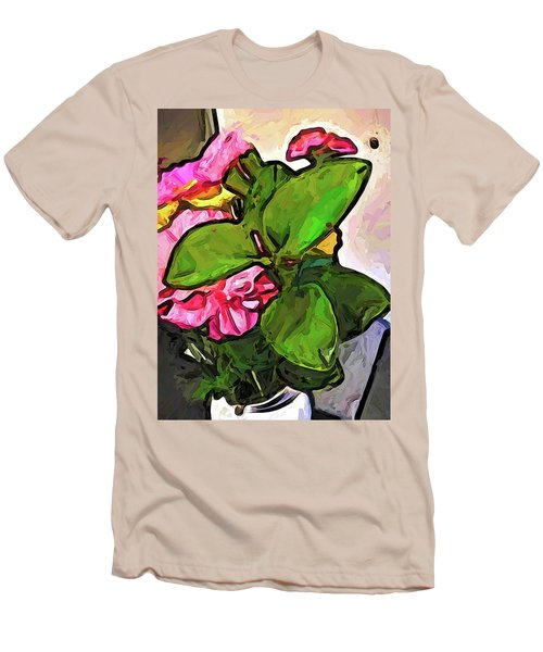 The Pink Flowers Behind The Green Leaves Men's T-Shirt (Athletic Fit)