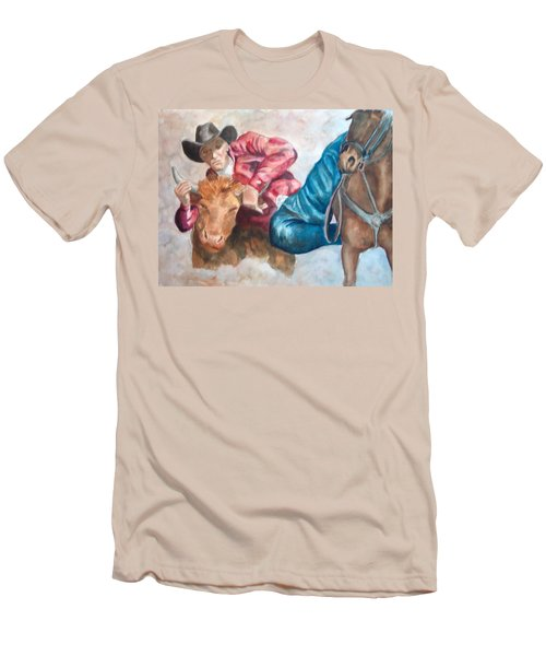 The Steer Wrestler Men's T-Shirt (Athletic Fit)