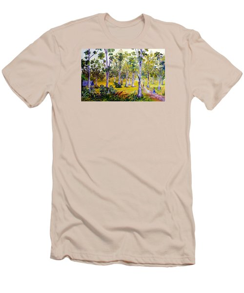 Men's T-Shirt (Slim Fit) featuring the painting The Teak Garden by Jason Sentuf