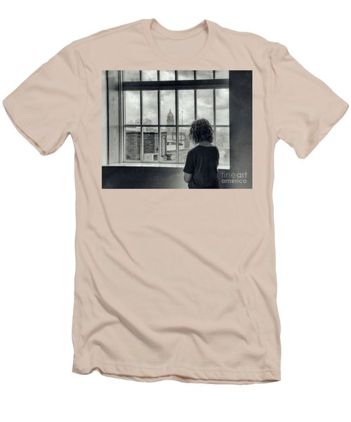 The World Outside My Window Men's T-Shirt (Slim Fit) by Laurinda Bowling