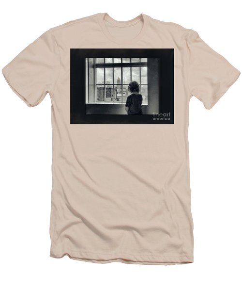 The World Outside My Window Number II  Men's T-Shirt (Slim Fit) by Laurinda Bowling