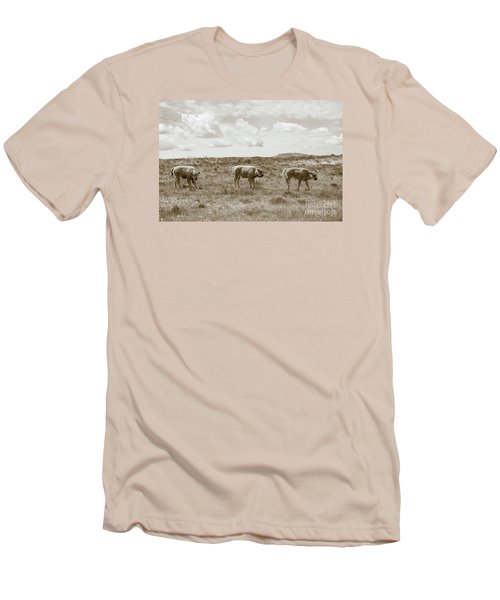 Men's T-Shirt (Slim Fit) featuring the photograph Three Buffalo Calves by Rebecca Margraf
