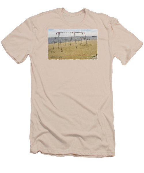 Men's T-Shirt (Slim Fit) featuring the photograph Three Gulls And A Swing Set by Melissa Messick