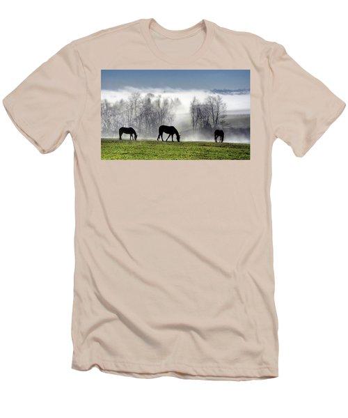 Three Horse Morning Men's T-Shirt (Athletic Fit)
