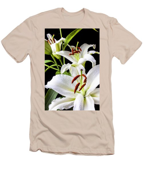 Three White Lilies Men's T-Shirt (Slim Fit) by Garry Gay