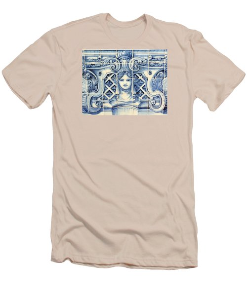 Tile Art In Fort Of Luanda, Angola Men's T-Shirt (Slim Fit) by John Potts