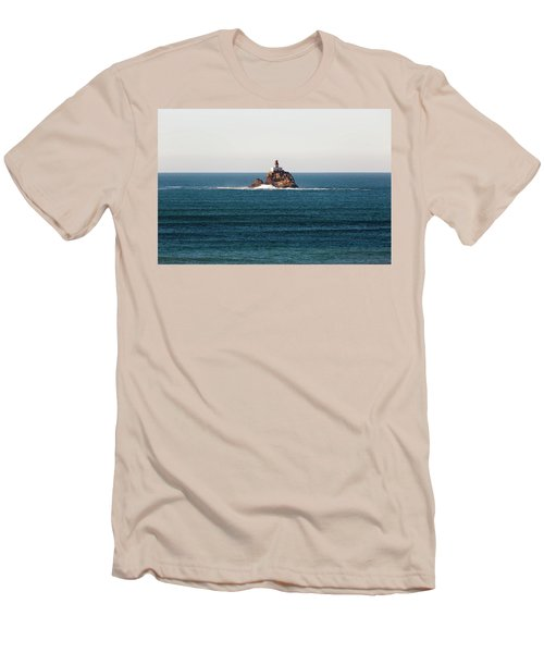Tillamook Rock Lighthouse On A Calm Day Men's T-Shirt (Athletic Fit)