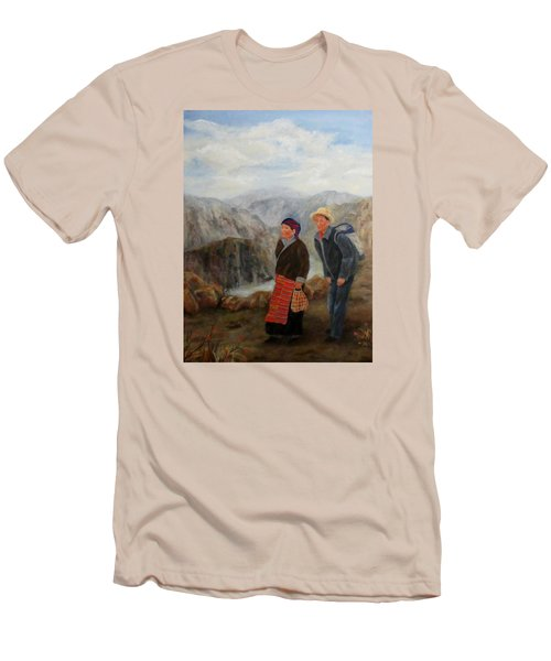 Men's T-Shirt (Slim Fit) featuring the painting To Market by Roseann Gilmore