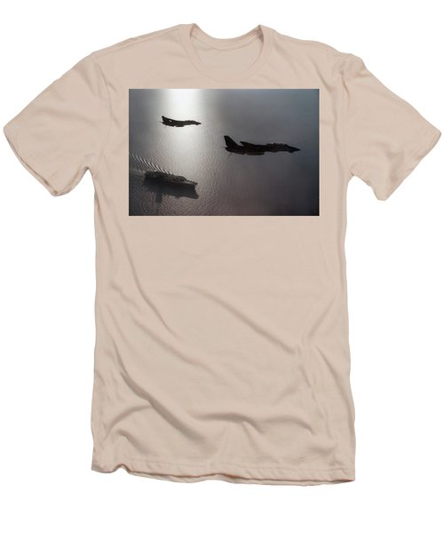 Men's T-Shirt (Slim Fit) featuring the photograph Tomcat Silhouette  by Peter Chilelli