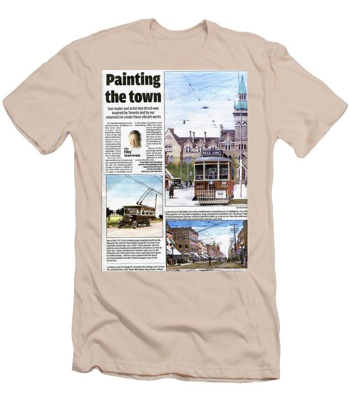 Men's T-Shirt (Slim Fit) featuring the painting Toronto Sun Article Painting The Town by Kenneth M Kirsch