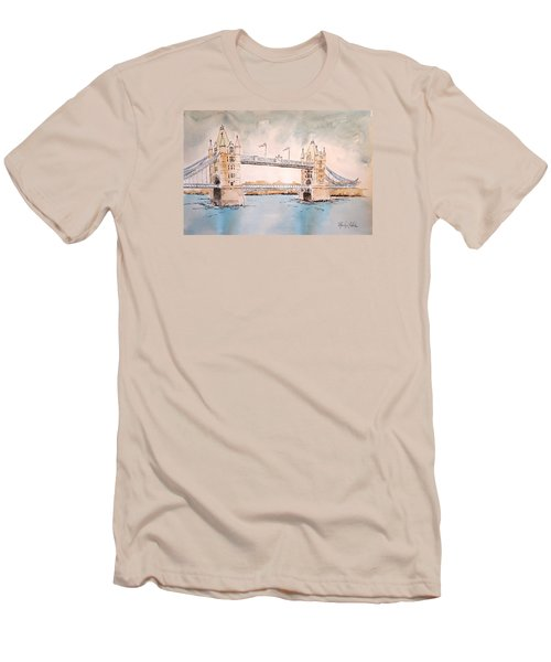Men's T-Shirt (Slim Fit) featuring the painting Tower Bridge by Marilyn Zalatan