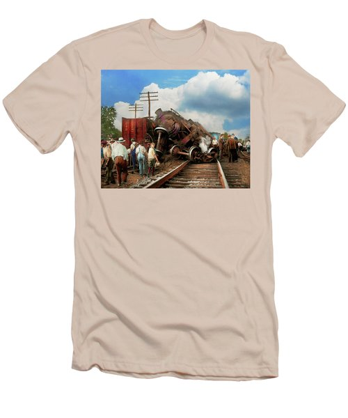 Men's T-Shirt (Slim Fit) featuring the photograph Train - Accident - Butting Heads 1922 by Mike Savad