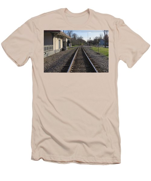 Men's T-Shirt (Athletic Fit) featuring the photograph Train Station View by Aaron Martens