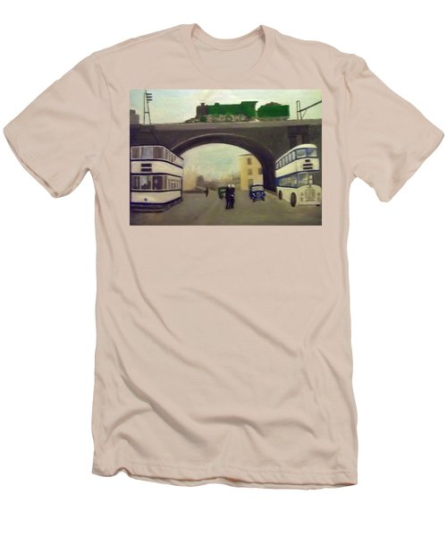 1950s Tram, Locomotive, Bus And Cars In Sheffield  Men's T-Shirt (Athletic Fit)