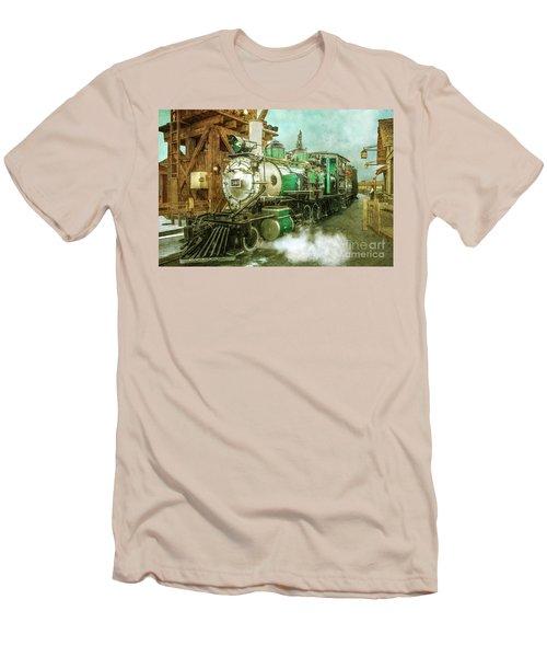 Traveling By Train Men's T-Shirt (Slim Fit) by Claudia Ellis