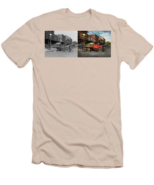 Men's T-Shirt (Slim Fit) featuring the photograph Truck - Home Dressed Poultry 1926 - Side By Side by Mike Savad