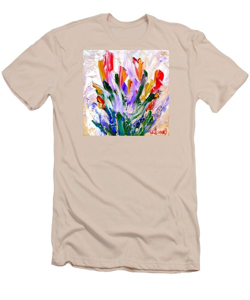 Men's T-Shirt (Slim Fit) featuring the painting Tulips by Fred Wilson