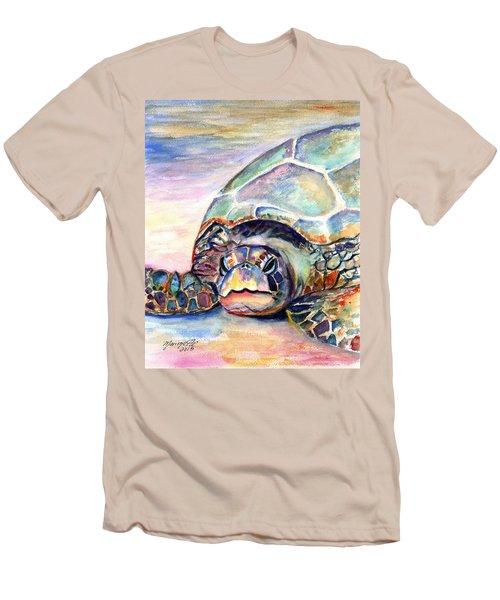 Turtle At Poipu Beach Men's T-Shirt (Slim Fit)