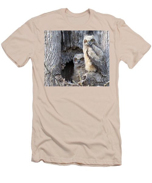 Men's T-Shirt (Slim Fit) featuring the photograph Twin Owls by Jeanette Oberholtzer