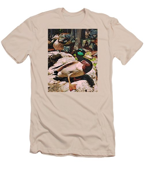Men's T-Shirt (Slim Fit) featuring the photograph Ducks -dynamic Duo by Kathy Kelly