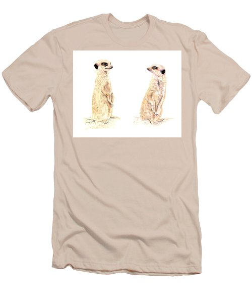 Men's T-Shirt (Athletic Fit) featuring the mixed media Two Meerkats by Elizabeth Lock