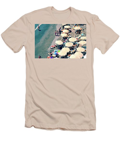 Men's T-Shirt (Slim Fit) featuring the photograph Umbrellas On The Beach - Nerja by Mary Machare
