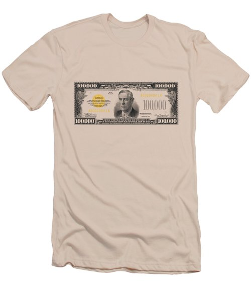 Men's T-Shirt (Slim Fit) featuring the digital art U.s. One Hundred Thousand Dollar Bill - 1934 $100000 Usd Treasury Note  by Serge Averbukh