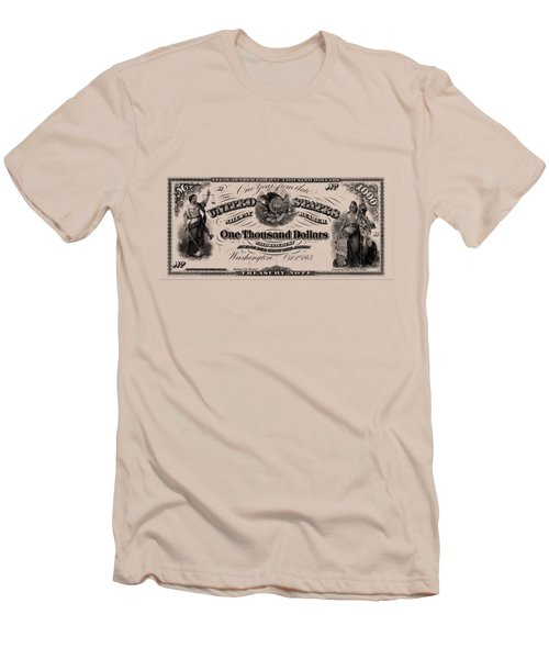 Men's T-Shirt (Slim Fit) featuring the digital art U.s. One Thousand Dollar Bill - 1863 $1000 Usd Treasury Note by Serge Averbukh