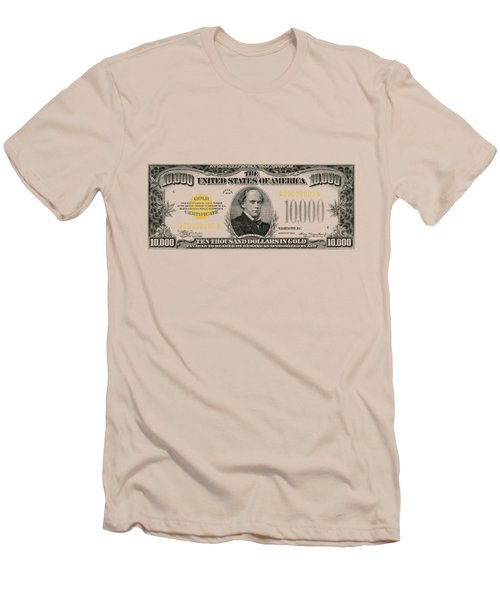 Men's T-Shirt (Slim Fit) featuring the digital art U.s. Ten Thousand Dollar Bill - 1934 $10000 Usd Treasury Note by Serge Averbukh
