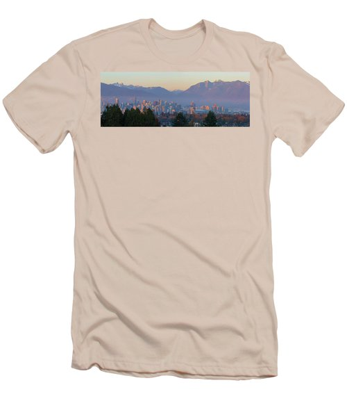 Vancouver Bc Downtown Cityscape At Sunset Panorama Men's T-Shirt (Athletic Fit)